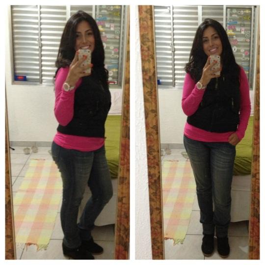 com blusa rosa